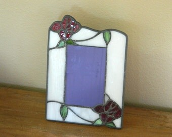 Romantic Vintage Stained Glass Red Rose Photo Frame