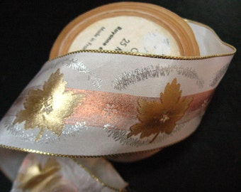 Ribbon vintage French gold silver copper 1 1/2 inches wide metallic print 4 1/4 yards