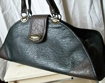 SALE Vintage 80s  black and brown  vegan leather handbag / doctor's bag