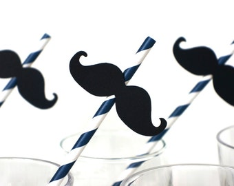 Set of 10 NAVY BLUE Striped Mustache Straw Photo Props - Mustaches on Navy Blue Striped Paper Straws