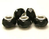 5  Black Glass, Faceted / Crystal Cut European Charm Bracelet  Beads - Euro Big Hole Beads