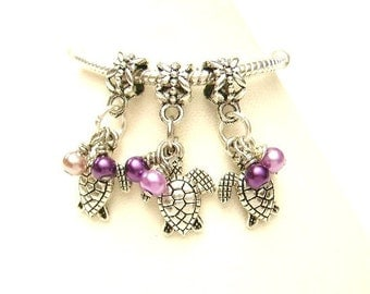 3 Purple & Lavender Turtles w/ Hand Wraped Glass Pearls European Dangle Charm Bracelet Beads -Tibetan Silver