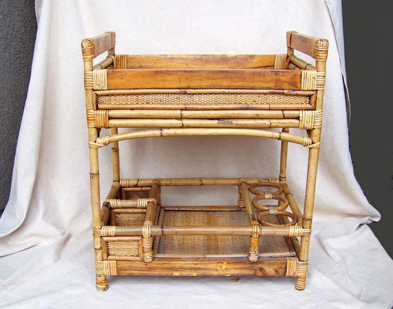 Tiki Rattan Bar Cart Trolley Bamboo Polynesian Art Deco To Mid