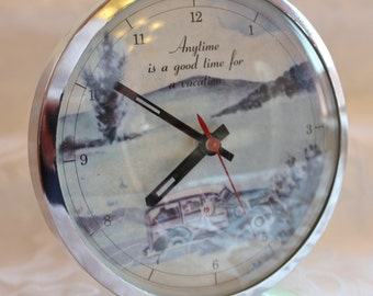 Vintage Alarm Clock - Anytime is a good time for a vacation