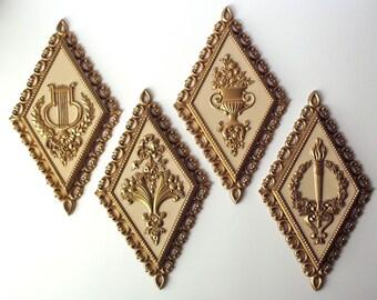 Cornucopia, Harp, Torch, and Vase Diamond Plastic Gold and White Homco Wall Hangings