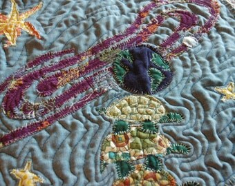 The Delicate Balance / Fiber Art Quilt / OOAK - Gravity Meets Folklore