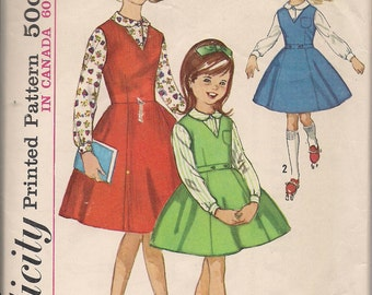 1960's Sewing Pattern Simplicity 5223 girls jumper and blouse size 12