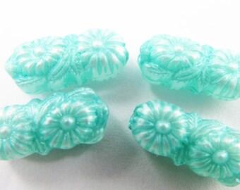20 Vintage 15x6 Turquoise Blue Acrylic Flower Tube Beads Bd750