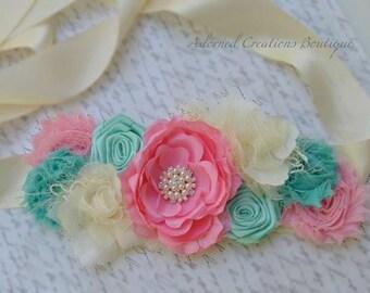 Maternity Sash/Bridal Sash - Pink Teal/Mint  Ivory
