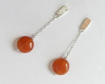 Short Dangle Carnelian Earrings - Sterling Silver Chain Earrings - Orange Earrings - Post Earrings - Summer Colors