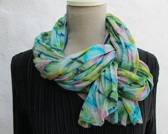 Sari Silk crinkle finish LONG scarf,  Perfect Gift, FREE SHIPPING