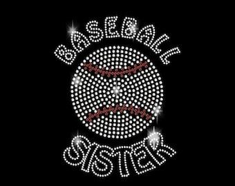 Baseball With Sister Rhinestone Transfer Iron On DIY Bling 34078