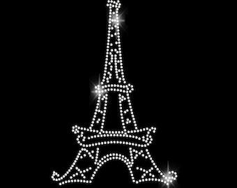 Eiffel Tower Rhinestone Transfer Iron On Bling - T Shirt Transfer 34105