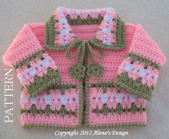 Crochet Baby Jacket Pattern : Crochet Pattern 045 Blossom Baby Jacket 3 6 12 by AlenasDesign