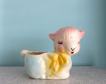 Lamb Planter - Vintage 1950s - Ceramic