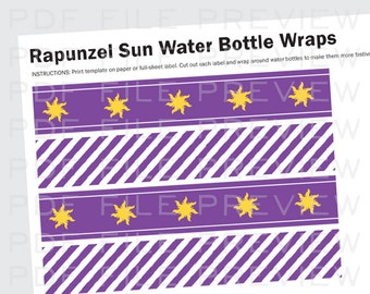 Rapunzel Tangled Party Water Bottle Labels Wraps Printable Birthday Invites