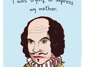 William Shakespeare 8x10 Print of Original Painting with phrase