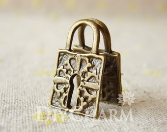 Bronze Tone Huge Lock Charms Designed With Vintage Style 15x26mm - 10Pcs - DC20941