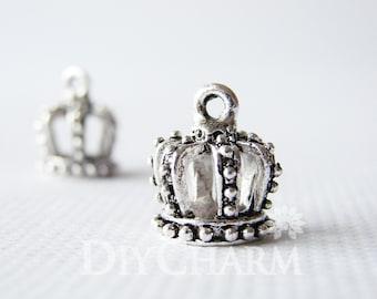 Antique Silver Tone 3D Crown Charms 13x12mm - 5Pcs - DF21278