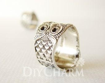 Antique Silver Tone Owl Ring Pendants 25x23mm - 5Pcs - DF26944