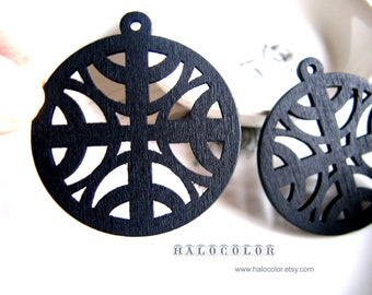 6 PCS - 50 mm Pretty Black Four Moon Wooden Charm/Pendant MH162 01