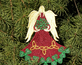 Lace Irish Angel, Shamrock Lace Angel, Embroidered Angel, Embroidery Lace Angel, St Patrick's Angel