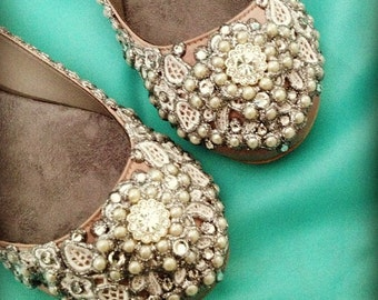 Topaz Shimmer Bridal Ballet Flats Wedding Shoes - Any Size - Pick your own shoe color and crystal color