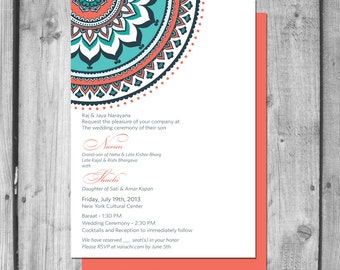 Ornate Indian Inspired Wedding Invitation Set