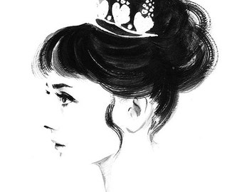 Audrey Hepburn Profile - Black and White Ink Watercolor Print