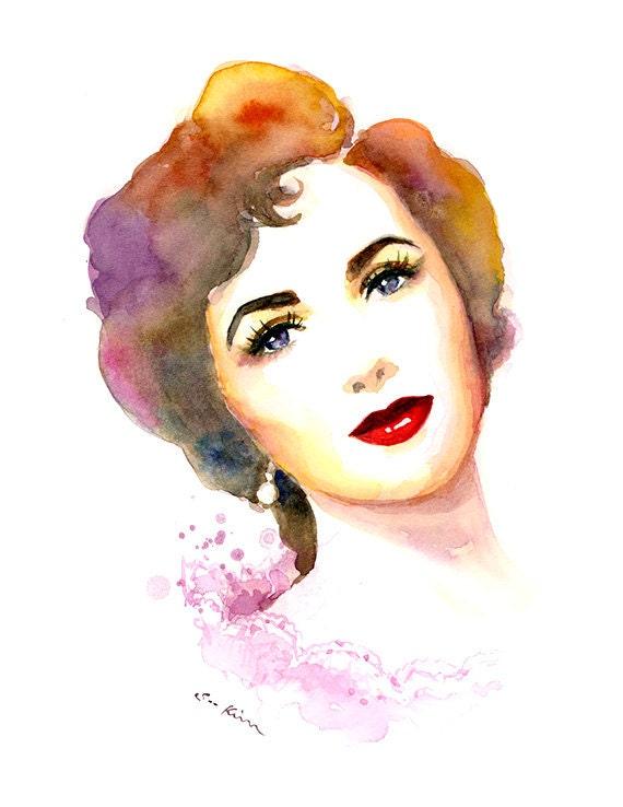 Elizabeth Taylor Portrait Watercolor Painting Print
