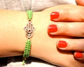 1 Macrame Bradded Adjustable Bracelet with Silver Hamsa Hand Charm