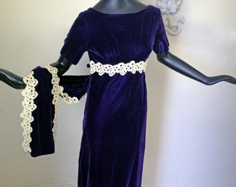 Purple Velvet Goth Dress Vintage 60s 70s Maxi Dress Mod Gothic Formal Gown with Lace Trim Train 1960s 1970s Alternative Hippie Wedding Gown