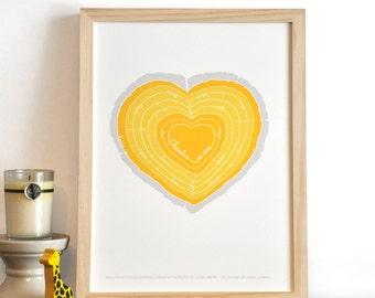 Heart Stump Modern Family Tree Rings nursery wall art print . I Carry Your Heart children decor