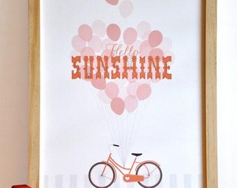 Hello Sunshine Typography Bicycle Girl Print retro modern nursery wall art print . children decor