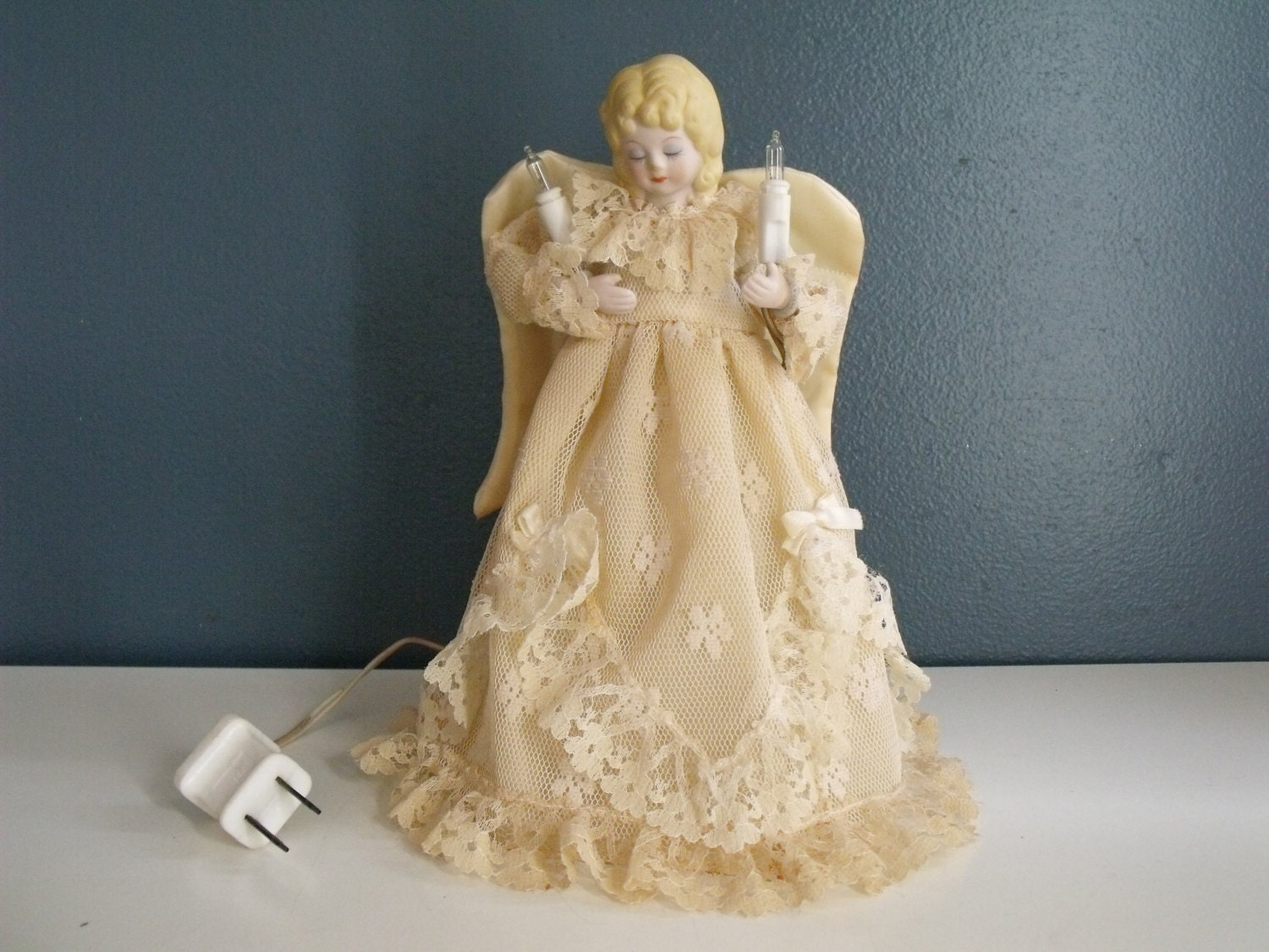 Vintage Christmas Angel Tree Topper Light Lace Ceramic