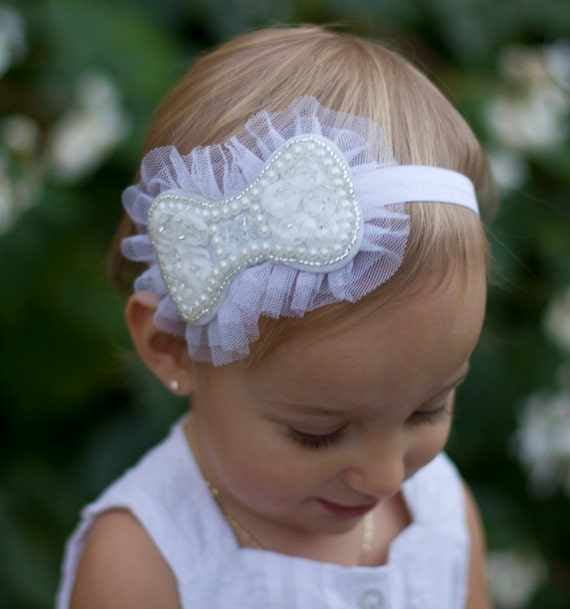 White Beaded Bow on a Headband or Clip , Bride, Wedding, Bridesmaid, Flower Girl, tulle & beads, baby headband, by Lil Miss Sweet Pea