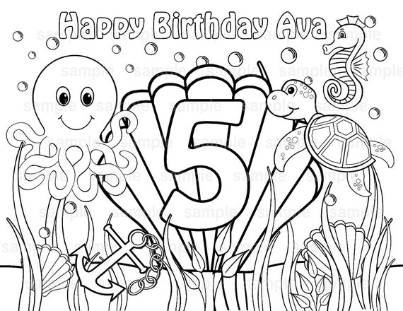 personalized birthday coloring pages | Personalized Printable Under the sea Birthday by ...