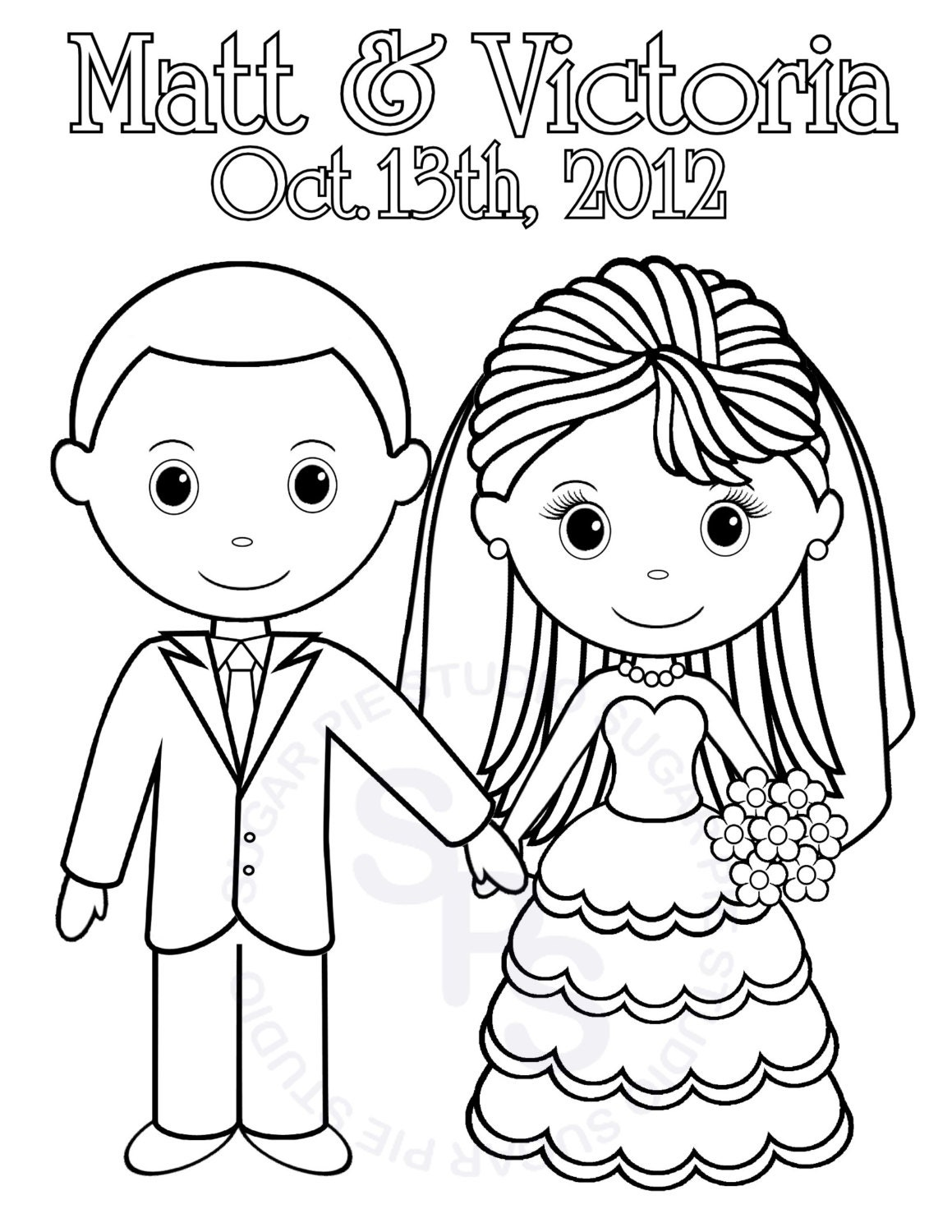 Personalized printable bride groom wedding by sugarpiestudio for Groom coloring pages