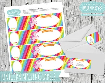 INSTANT DOWNLOAD Magical Rainbow Unicorn Mailing Labels