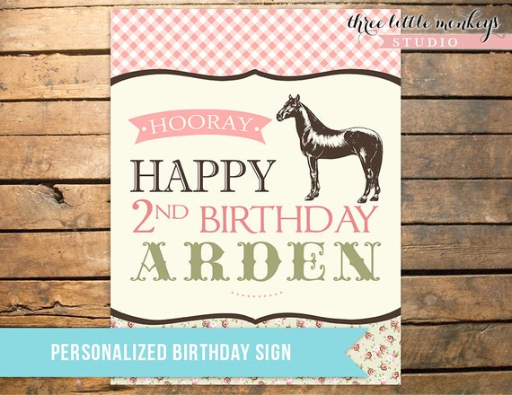 Vintage Pony Party Personalized Sign