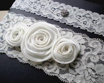 Bridal Garter Set ...Wide Ivory Lace and Satin Millinery Rose Flowers