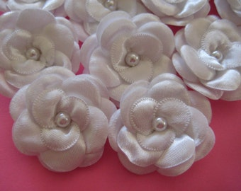 """White Satin Flowers 3 Layers Puffy Petals Faux Pearl Center Appliques for Princess Dresses, Wedding, Sewing, 1.6"""", 12 pieces"""