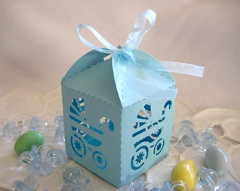 free shipping blue baby boy carriage party favor boxes laser cut baby shower favor