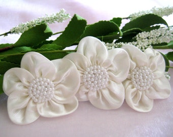 2.5 inches Ivory Satin Ribbon Flowers Pearls Appliques for Party Dresses, Wrist Cuff Flowers, Embellishment, 50 mm, 6 or 12 pieces