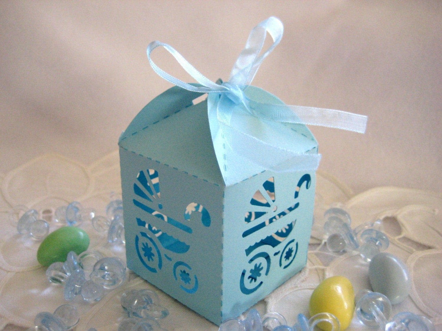 Blue Baby Shower Favor Boxes : Blue baby boy carriage party favor boxes for