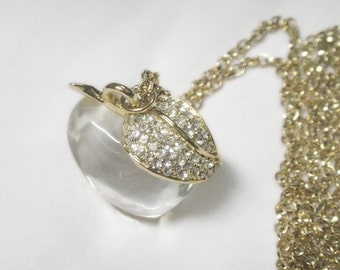 Apple Necklace with Rhinestones - Clear Lucite - Vintage