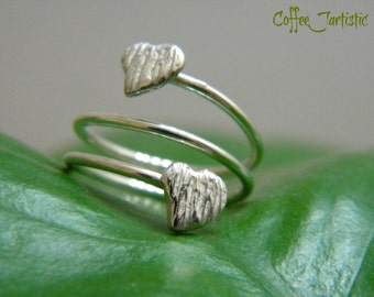 Sterling Silver (925) double adjustable Love Ring handcrafted (Free shipping in the US.)