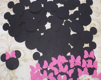 25 Minnie Mouse Head Shapes Hot Pink Bow Die Cut pieces for crafts Cupcake Picks DIY Kids Crafts Birthday Party etc.