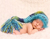 Baby Boy Hat - Soft & Chunky Baby Stocking Hat - Baby Hat Shades of Blue and Green with Fuzzy Fur Trim and Big Tassel