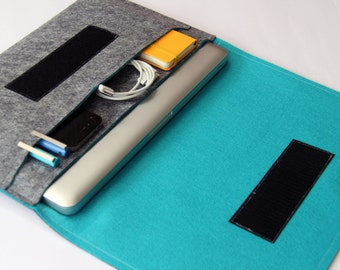 New Apple Macbook AIR laptop Organizer Case Cover - Gray & Turquoise - Weird.Old.Snail